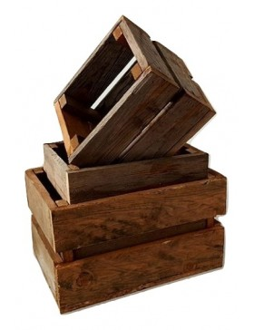 Juego de 3 cajas de madera...